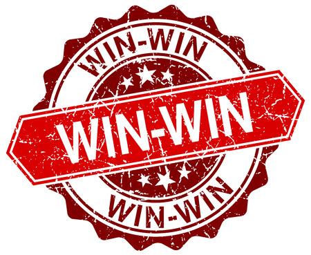 42331478 - win-win red round grunge stamp on white